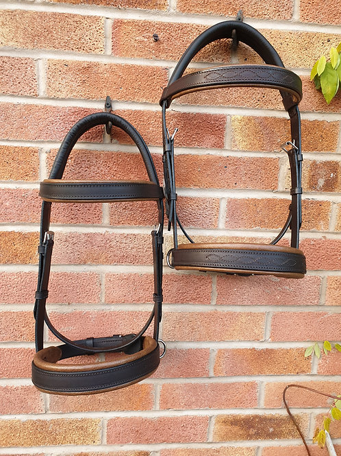 Leather side cue bridles full size havana/antique