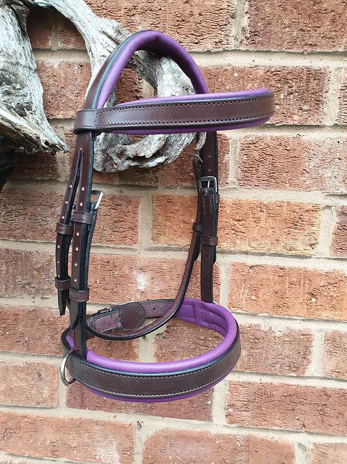 Simple Sidecue cob Bridle Chestnut/Purple LEATHER