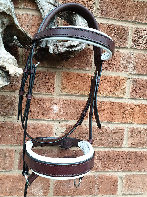 Double Bridle rosewood & White LEATHER