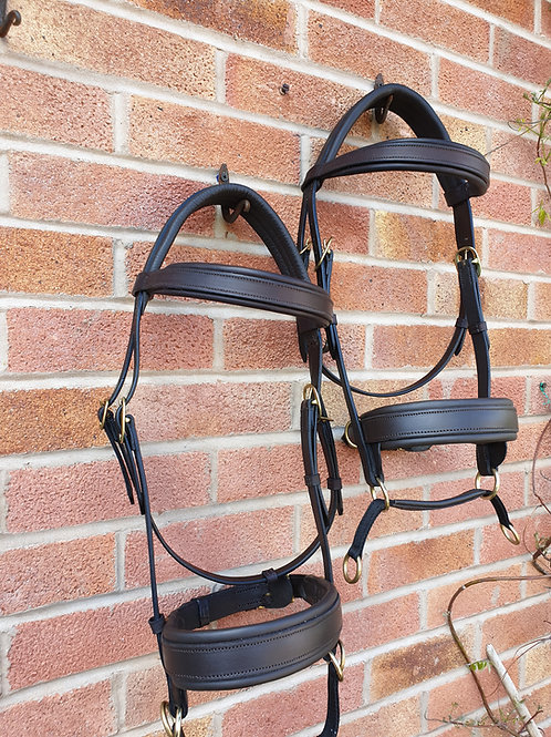 Havana  double leather f/s bridles with brass buckles