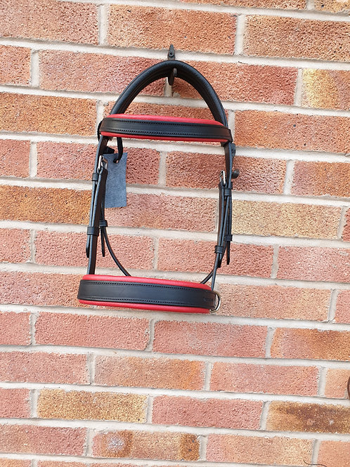 Leather cob sidecue black/red