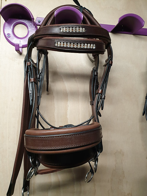 Leather double bridle full size chestnut and conker