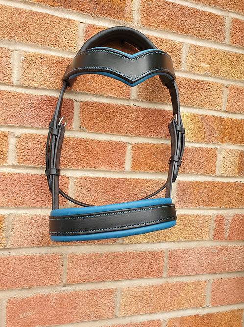 Leather, 2 tone side cue, v browband cob size