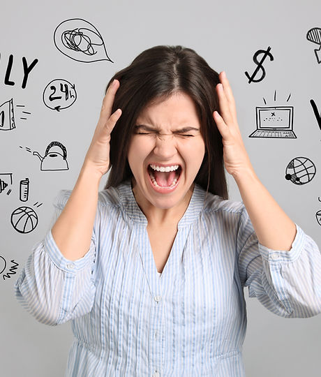 Stressed young woman, text and drawings on grey background.jpg