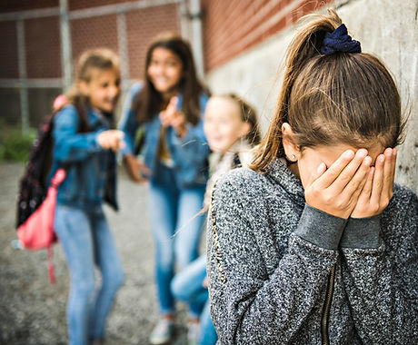 A sad girl intimidation moment on the elementary Age Bullying in Schoolyard.jpg