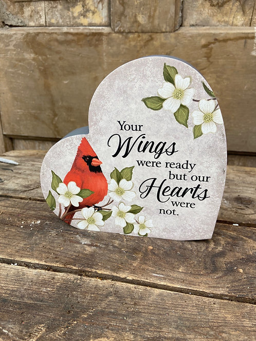 Cardinal Heart Plaque