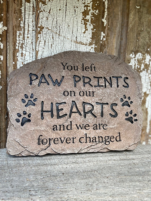 Paw Prints In Our Hearts Plaque