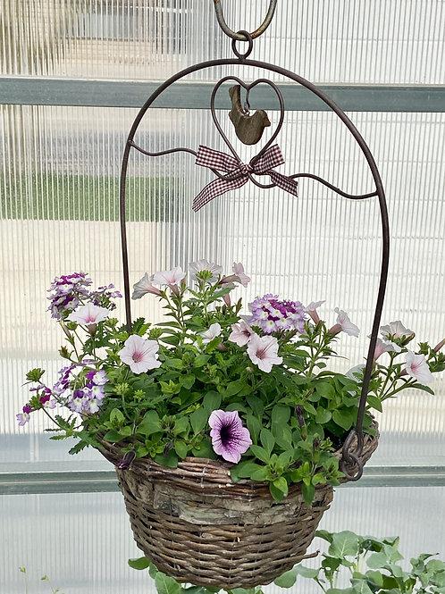 Hanging Basket - Purple & Pink Bird's Nest