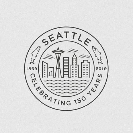 Seattle 150 Seal black & white