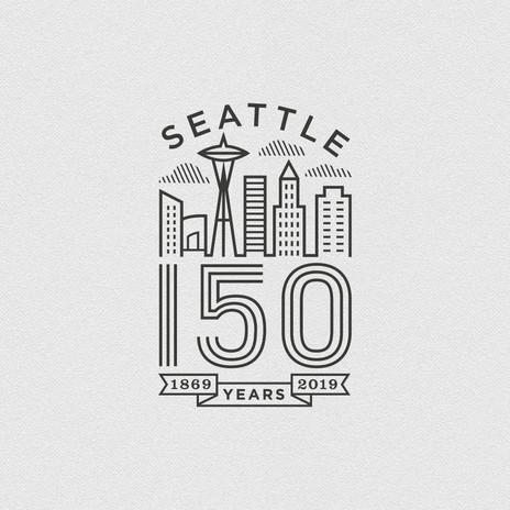 Seattle 150 Logo black & white
