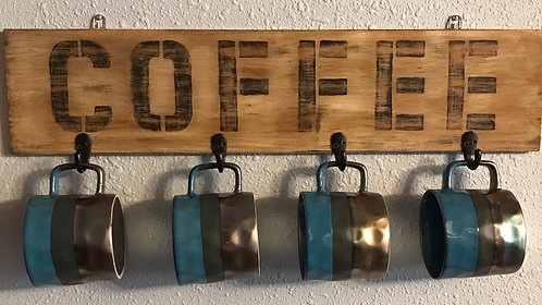 Rustic Coffee Mug Holder (blue cups)