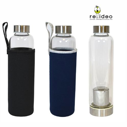 Botella Vidrio C/filtro y funda BOT17