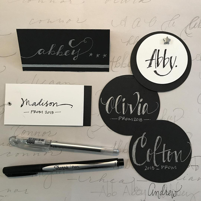 Prom Place Card + Calligraphy