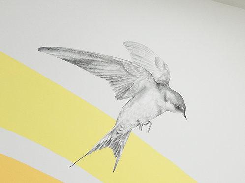 Renée A Fox. Songs of Freedom (Swallow 1) 2019. Graphite on Pellon.