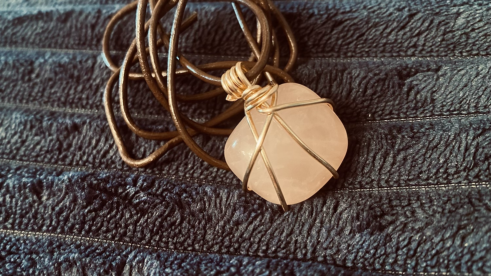 """""""For The Heart""""  wire wrapped Rose Quartz"""