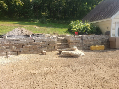 Double stack retaining wall with stairway