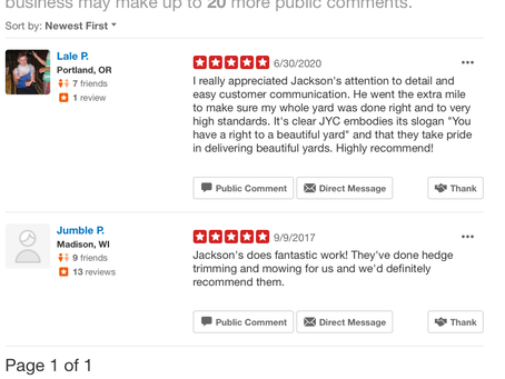 Customer review on Yelp
