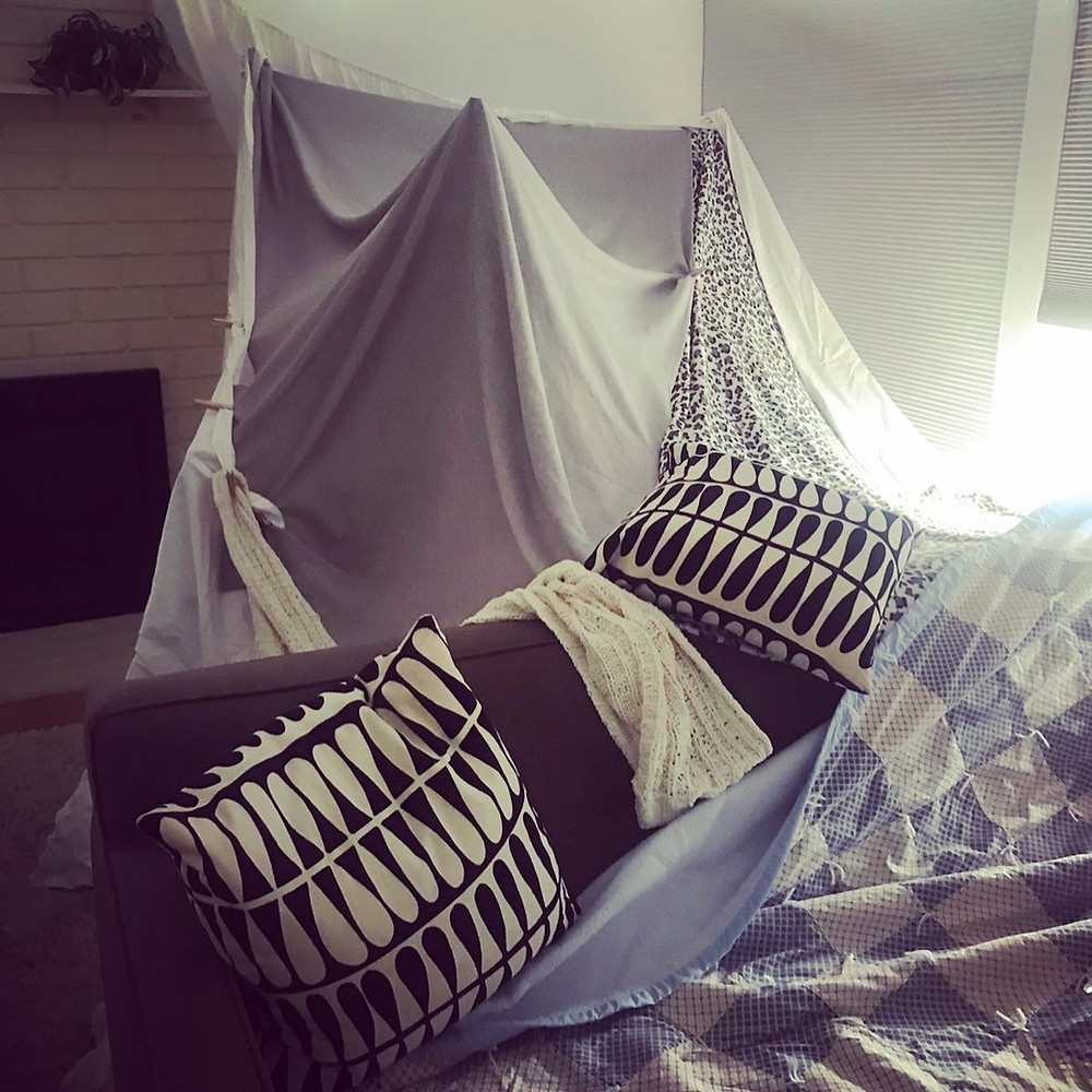 My daughter and I built this fort and left it up for days.