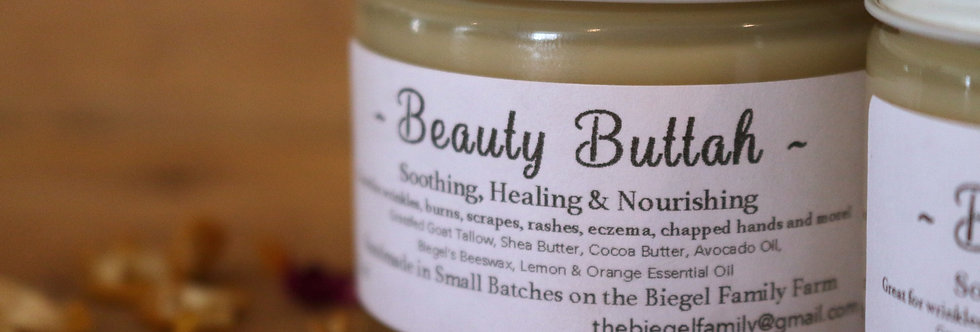 Beauty Buttah made using our own grass-fed Goat Tallow 2oz