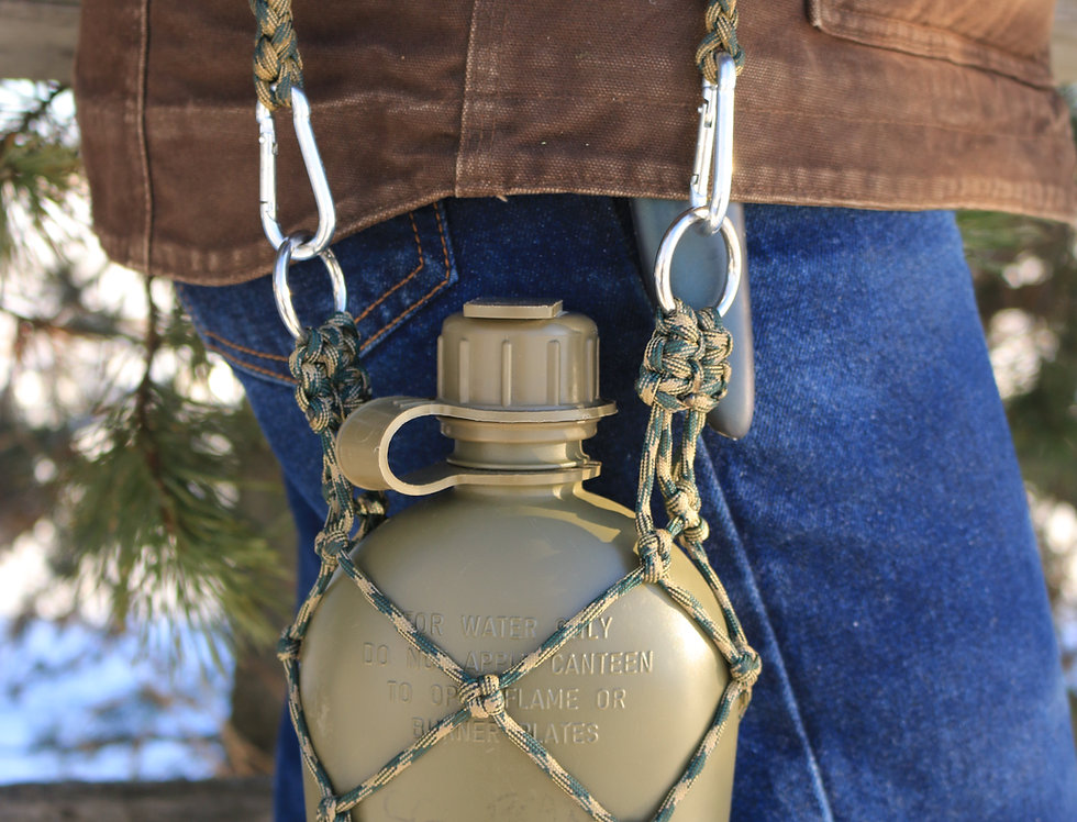 1 quart Army Canteen with Paracord Holder