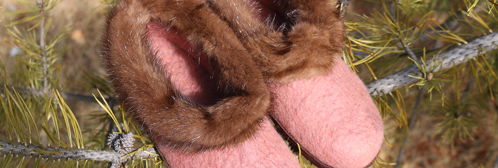 Felted Slippers - Fur Trimmed