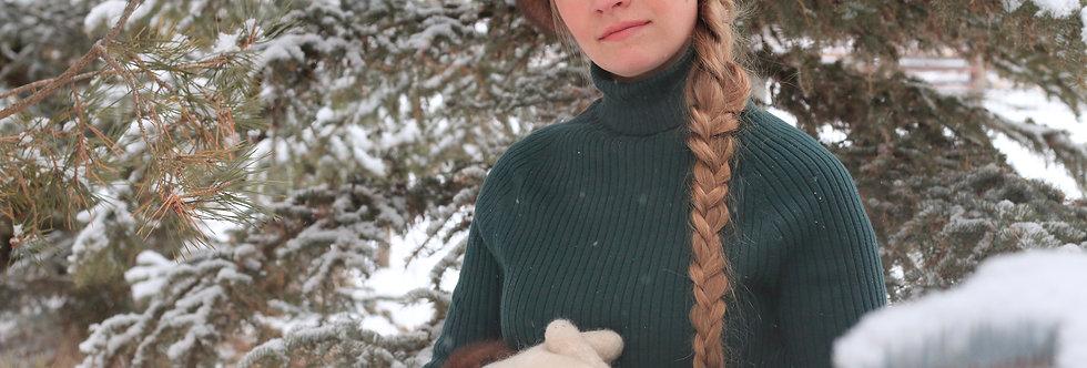 Ladies Felted Alpaca Cloche with Fur