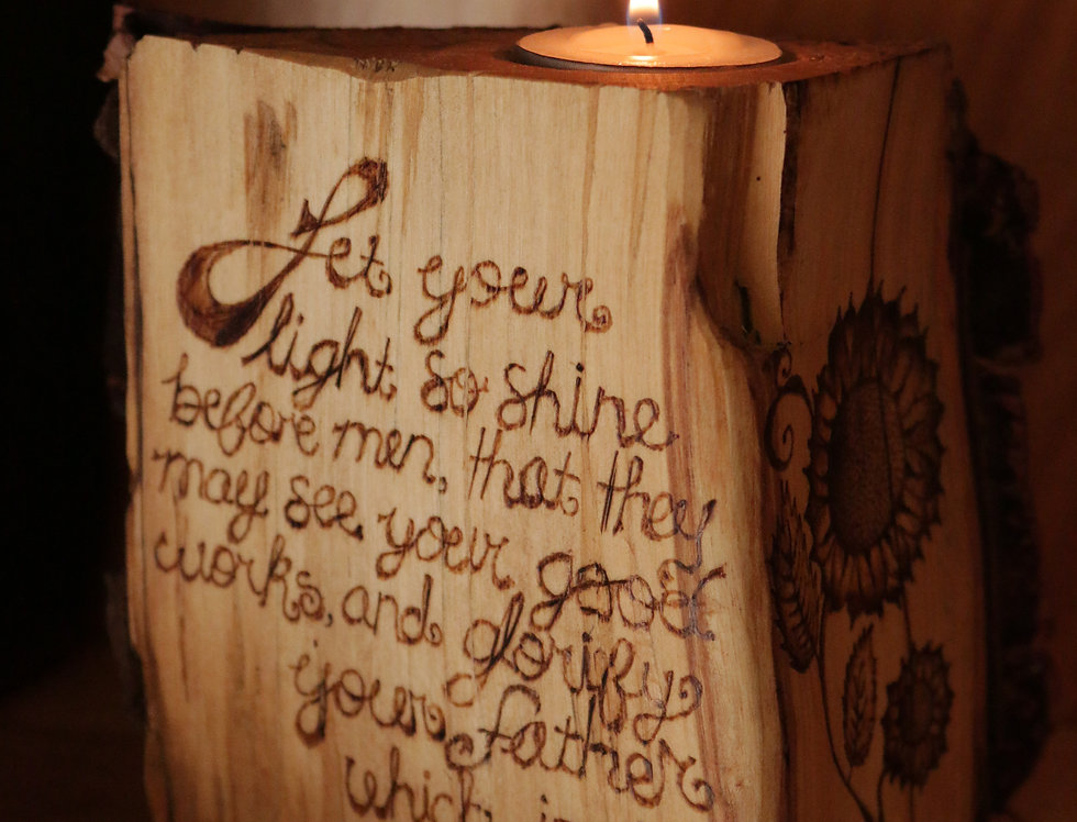 Rustic Tea Light Candle Holder with Scripture