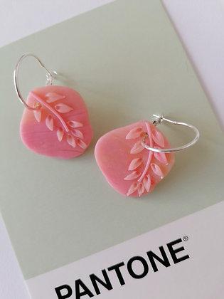 Pink Leaf   Hoop PENDANTS ONLY