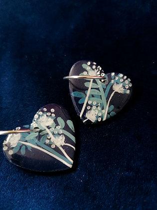 Cyanotype - Heart HOOP PENDANT ONLY