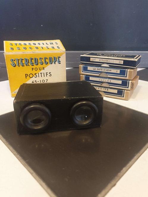 Stéréoscope Bruguière et 4 boîtes de positifs