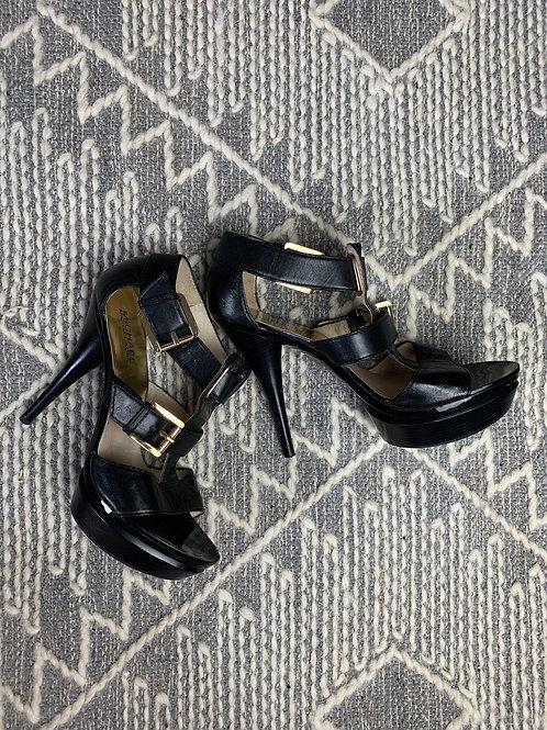 Black Patent Leather Heeled Sandal - Michael Kors - SIZE 8