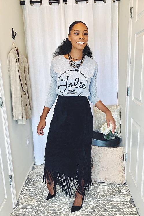 Black Suede Mid Skirt w/ Fringe - Size 8