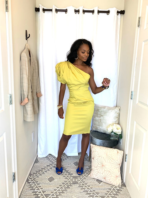 Yellow One-Shoulder Mid-Length Cocktail Dress - SIZE 6