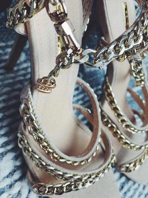 Beige Chain Detail Sandal Heels - SIZE 10
