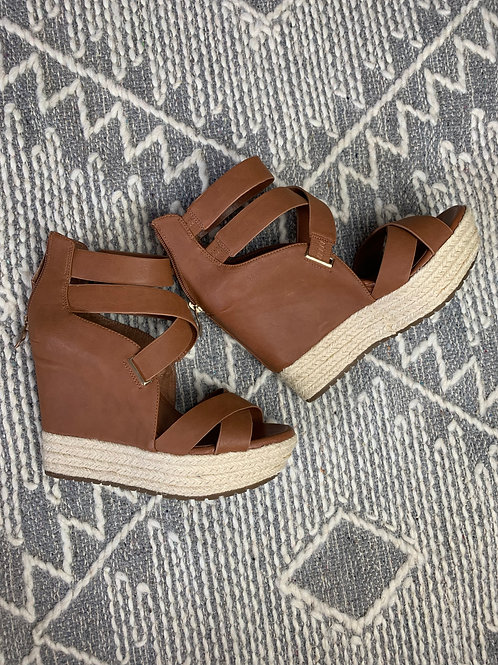 Brown Leather Espadrille Wedge - BCBG - SIZE 8