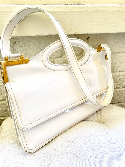 Vintage 1970s White Patent Leather Purse with Gold Hardware