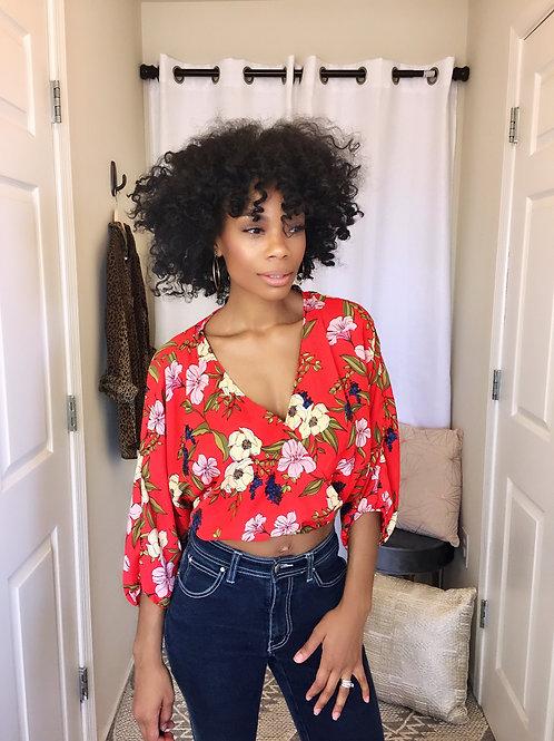 Floral print crop blouse SIZE M