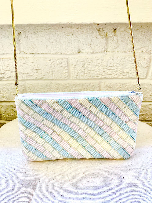 Vintage La Regale Pastel Beaded Purse with Gold Crossbody Chain Strap