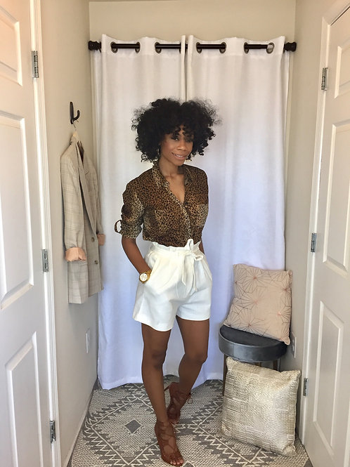 White high waist shorts tie in the front