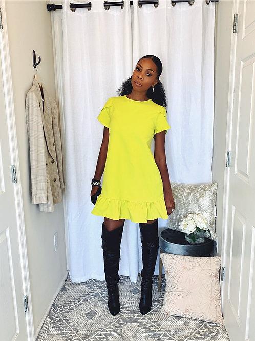 Neon Yellow Shift Dress - SIZE L