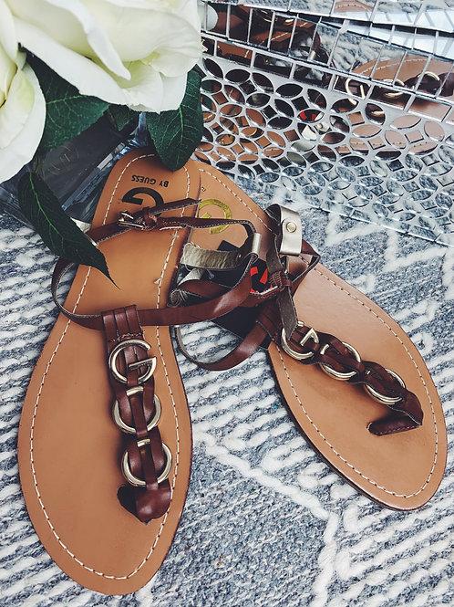 Brown Leather T-strap Flip Flop - SIZE 9