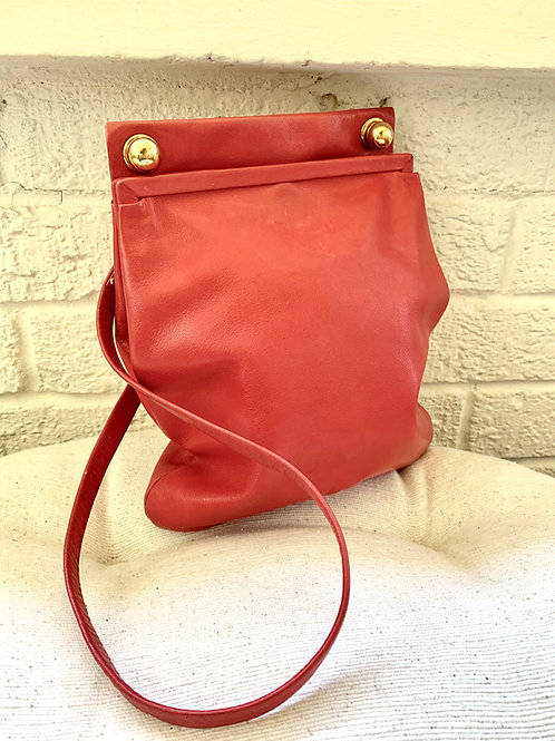 Vintage Rodo Italy Red Leather Handbag with Gold Hardware