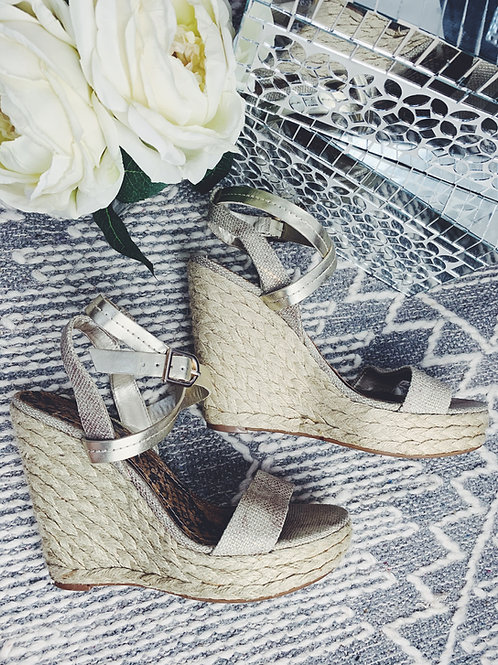 Dusted Gold Espadrille Wedges - SIZE 10