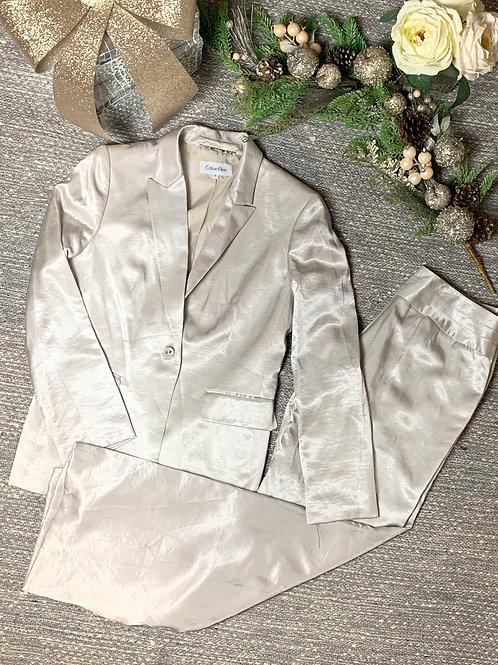 White Calvin Klein Satin Suit - SIZE 8