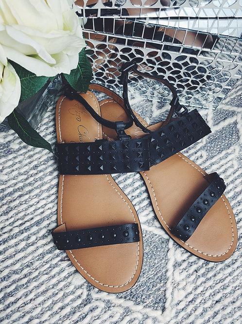 Black Studded T-strap Flip Flop - SIZE 9