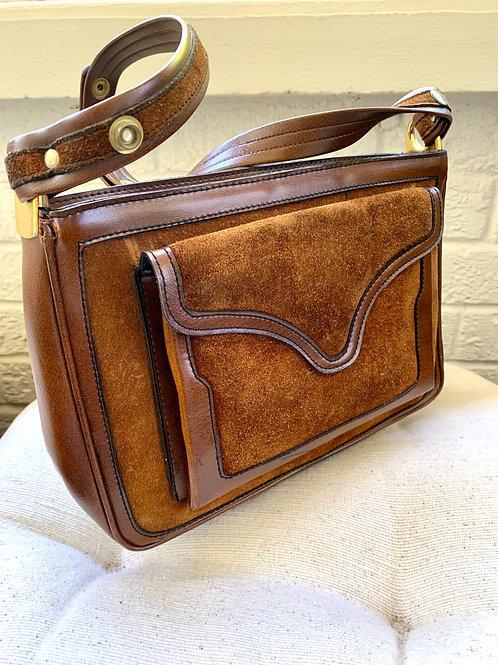 Vintage 1960s Marli Brown Leather and Suede Handbag