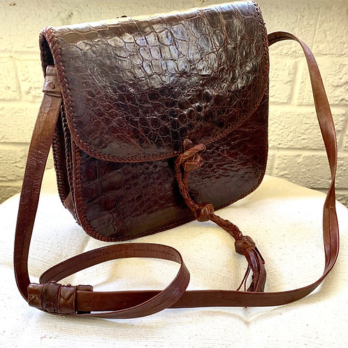Brown Crocodile Crossbody Bag