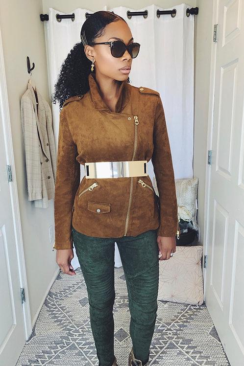 Brown Suede Moto Jacket - SIZE 8