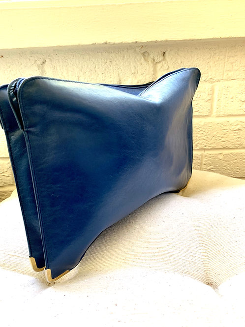 Navy Leather Clutch with Gold Hardware