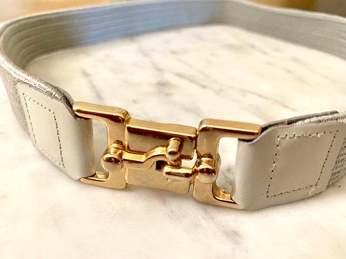 Vintage Gray Elastic Belt with Gold Hardware